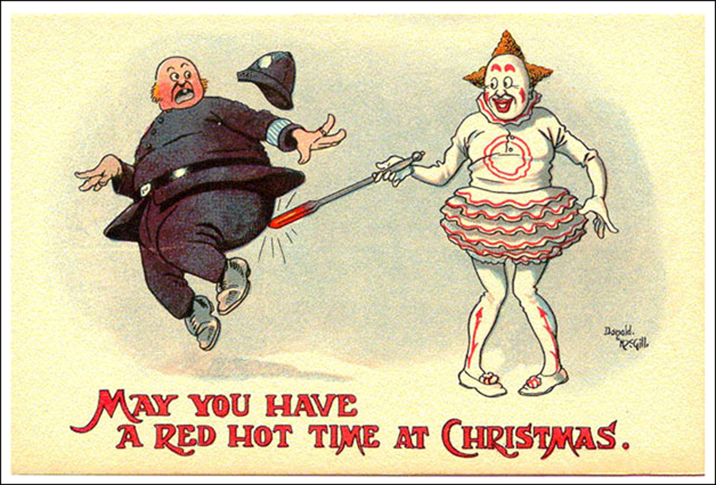 Clown touches policeman with red hot poker - by Donald-mcGill funny Christmas card