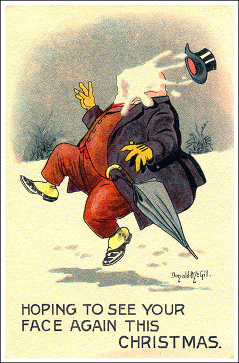 Man gets a snowball in the face - funny Christmas card by Donald mcGill
