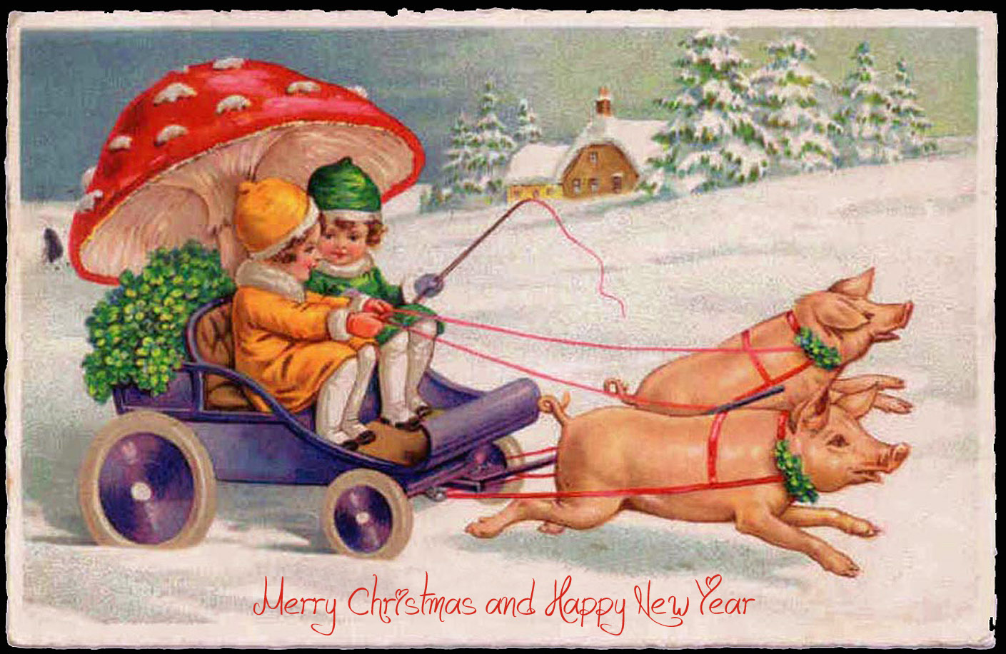 Kids using a huge mushroom as umbrella ride a small carriage pulled by pigs - funny Christmas and New Year card