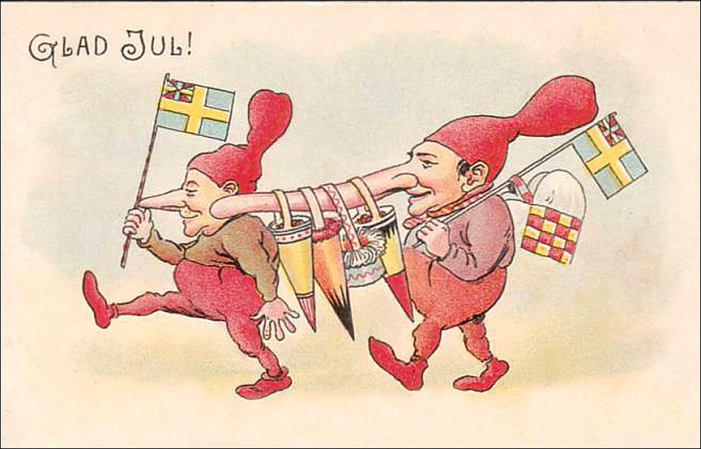 two brownies or leprechauns walking amusing swedish christmas greeting card - Humorous Christmas Cards