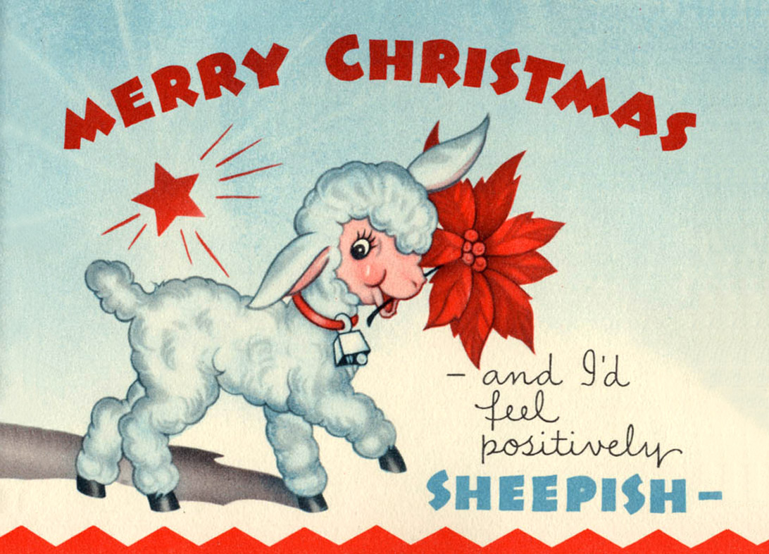 Sheep with a red flower in mouth - funny old Christmas postcard