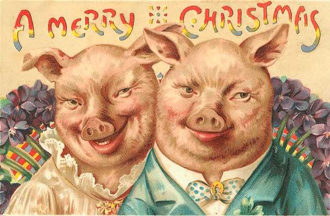 Funny ugly scary pig people - Christmas card