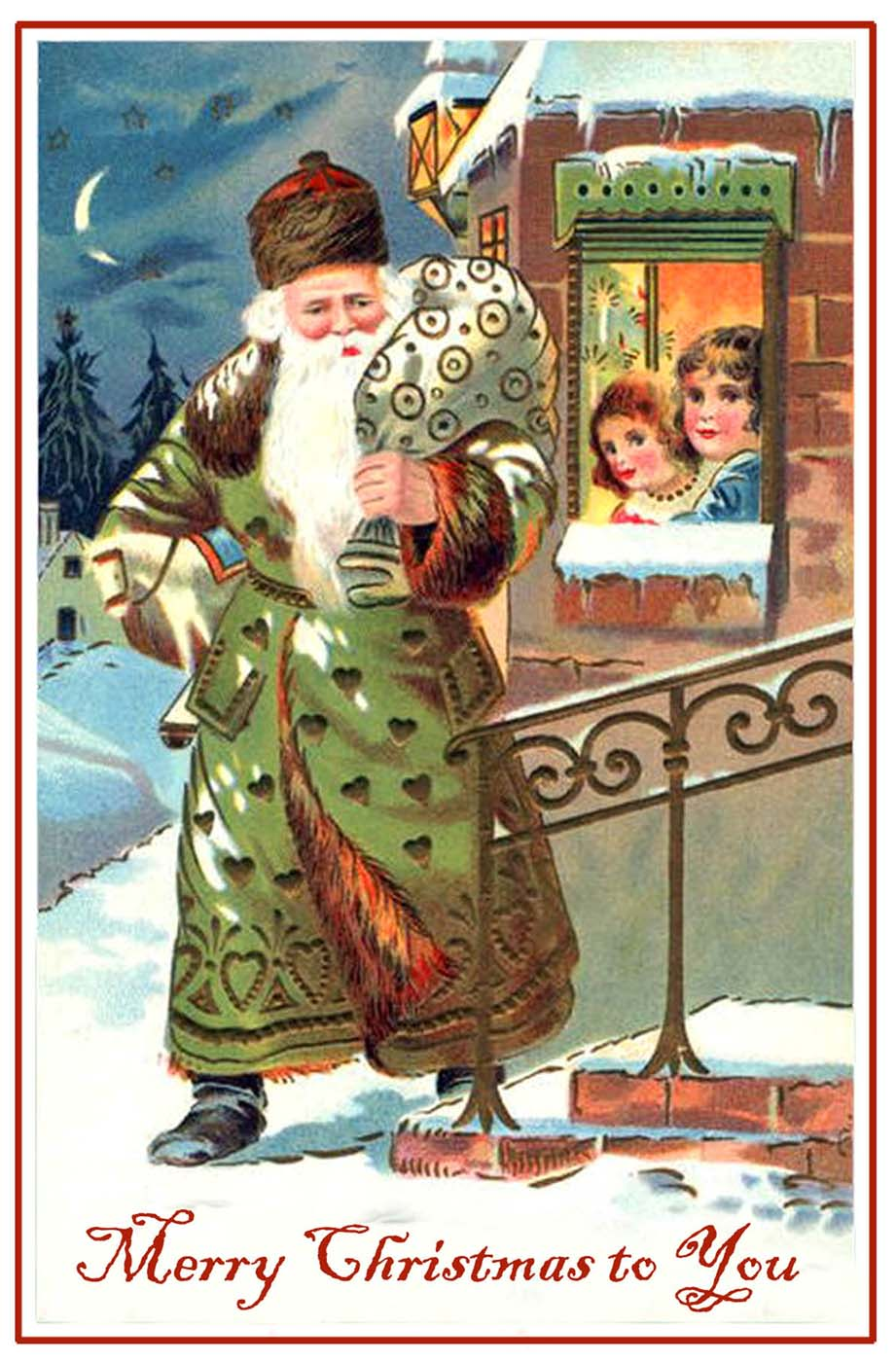 Christmas post card of a green clad Santa Claus with children looking at him through a window
