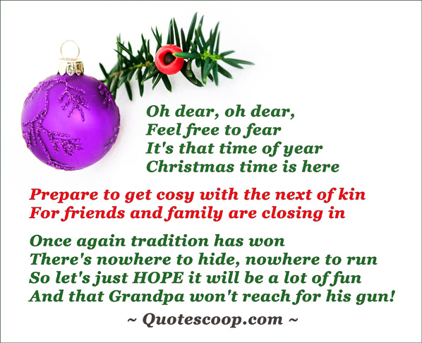 christmas greeting card with purple christmas ball and a funny poem