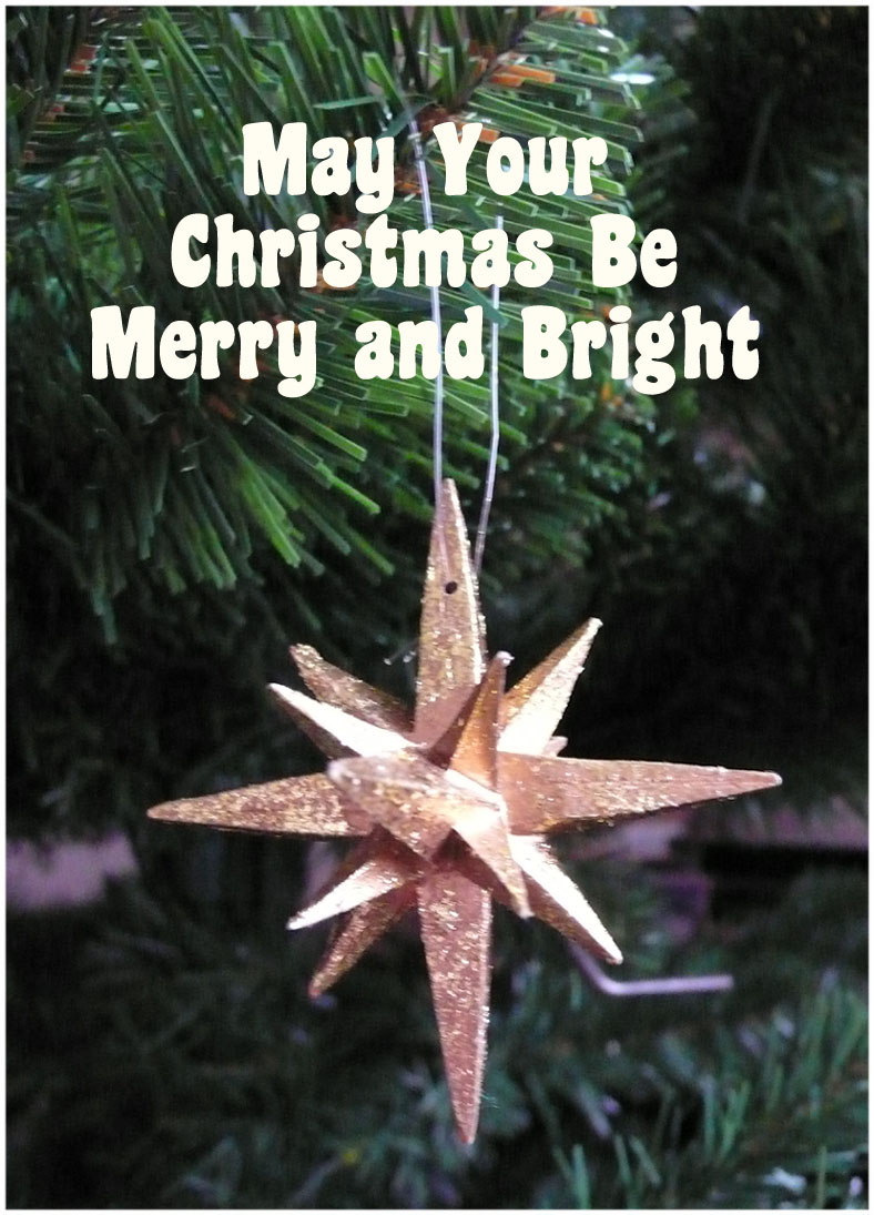 Merry Christmas greeting card with gold star: May your Christmas be merry and bright!