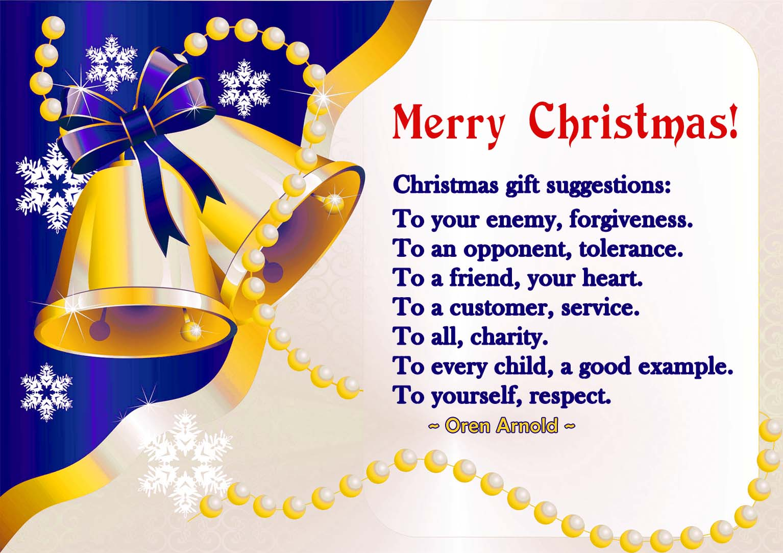 Modern Christmas card, blue with golden bells and a quote on gifts by Oren Arnold