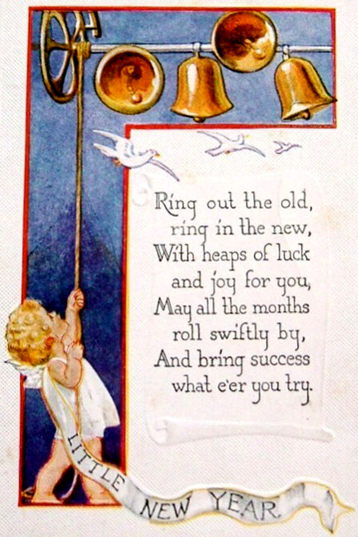 Free Vintage Card: Angel ringing in the new year with bells and rhyming New Year Poem.