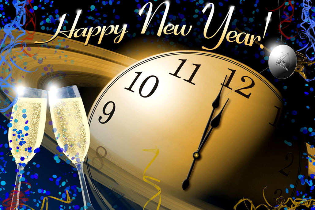 Modern computer edited New Years greeting with Champagne glasses and clock.