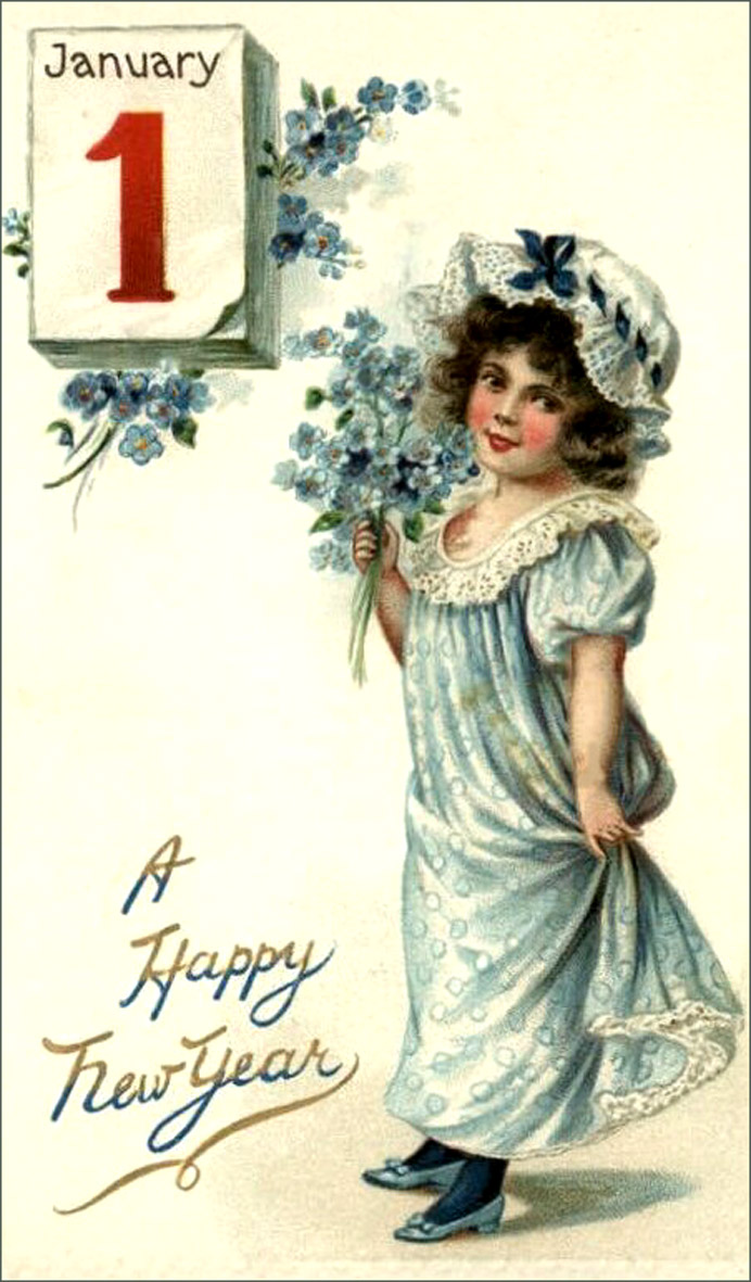 New Year vintage picture of little girl in blue holding a bouquet of flowers.