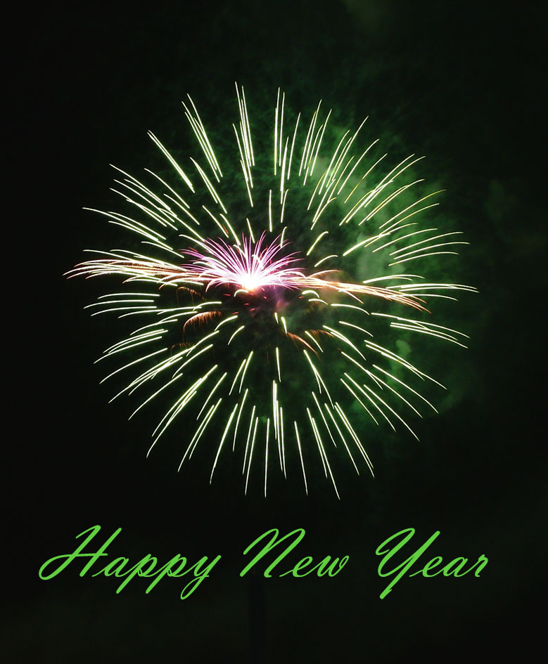 Modern New Years Eve Card: Photo of green fireworks.