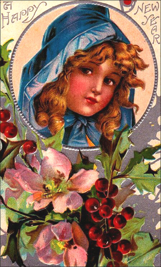 Vintage Happy New Year Greeting: Girl in blue hood surrounded by flowers.