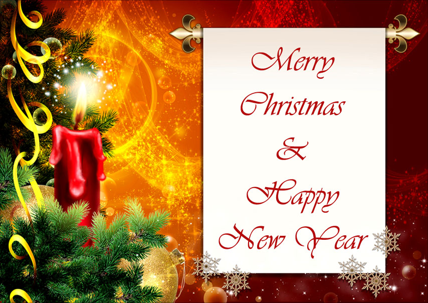 merry christmas and happy new year greeting green pine tree branches and red candle with
