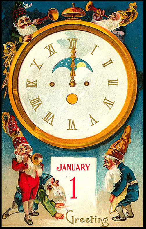 Vintage Happy New Year Postcard: elves with trumpets and old clock.