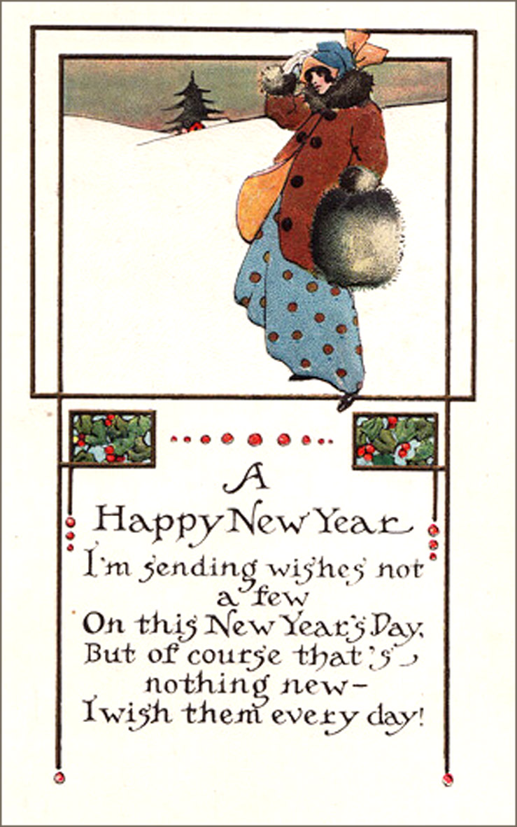 Elegant Art Nouveau Happy New Years Greeting Card with woman walking in the snow and rhyming New Years poem.