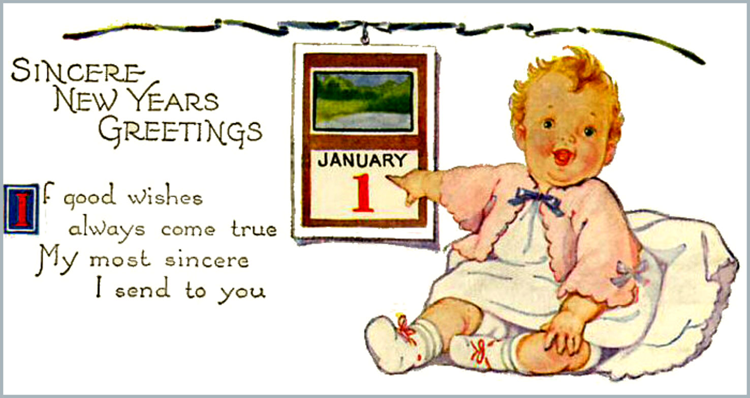 vintage picture with little baby and rhyming new years poem