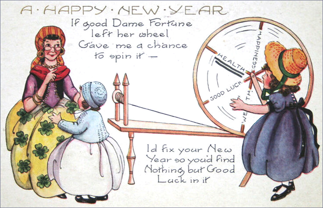 Vintage Happy New Year Post Card: Dame Fortune and spinning wheel.