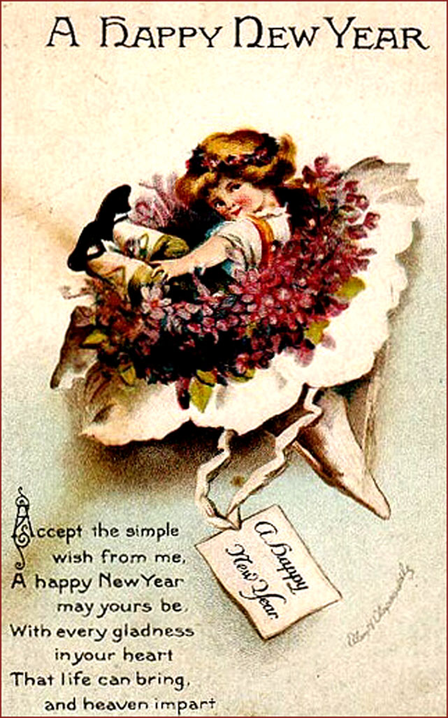Vintage New Year Greeting Card: Short poem and little girl in a flower bouquet.
