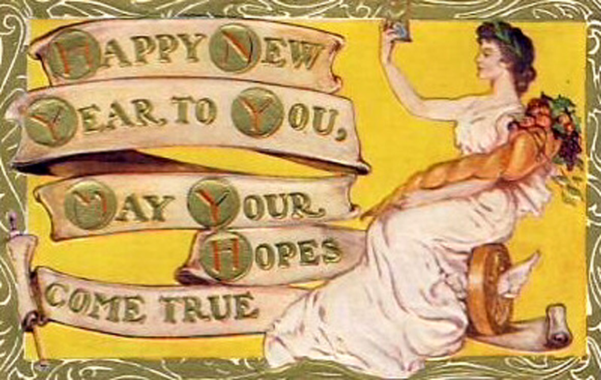 art nouveau new year card with woman in toga and rhyming new years poem