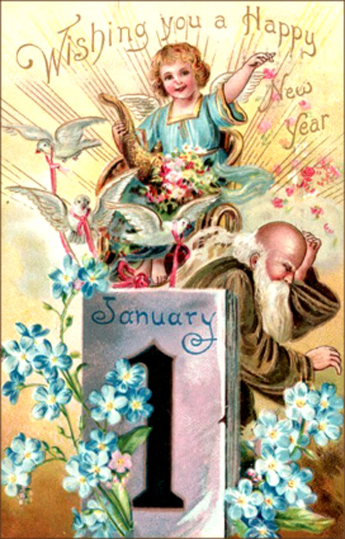 Old vintage New Years greeting card with angel and Father Time.