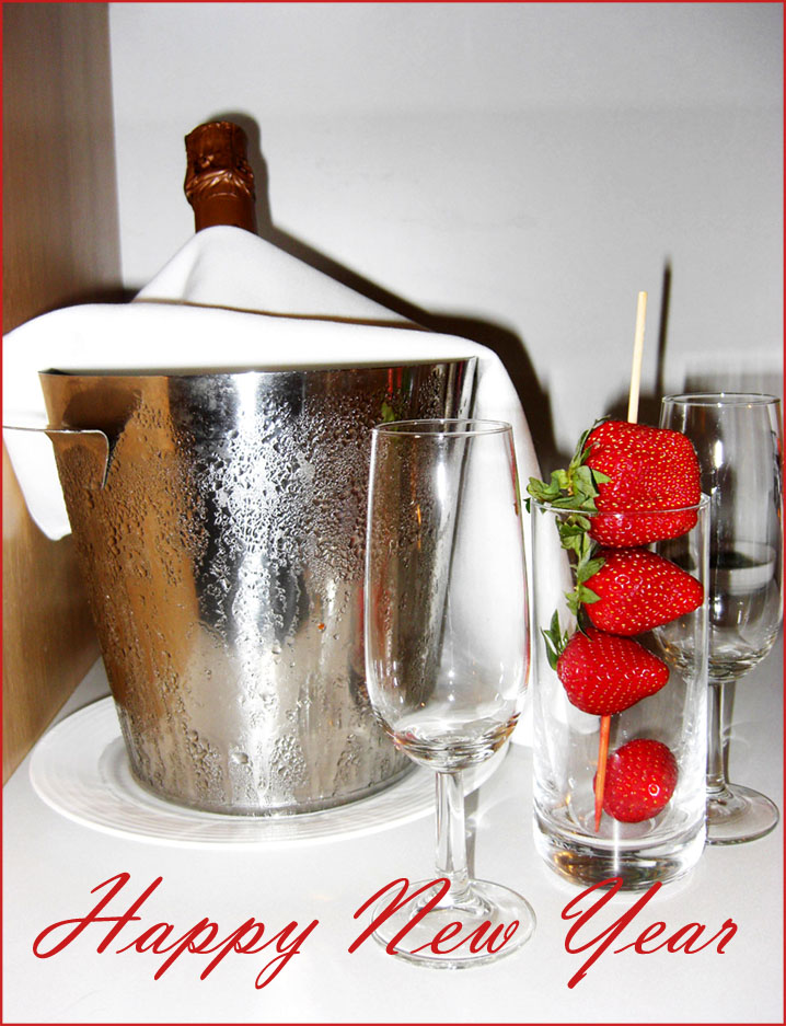Happy New Year card modern style: Strawberries and champagne.
