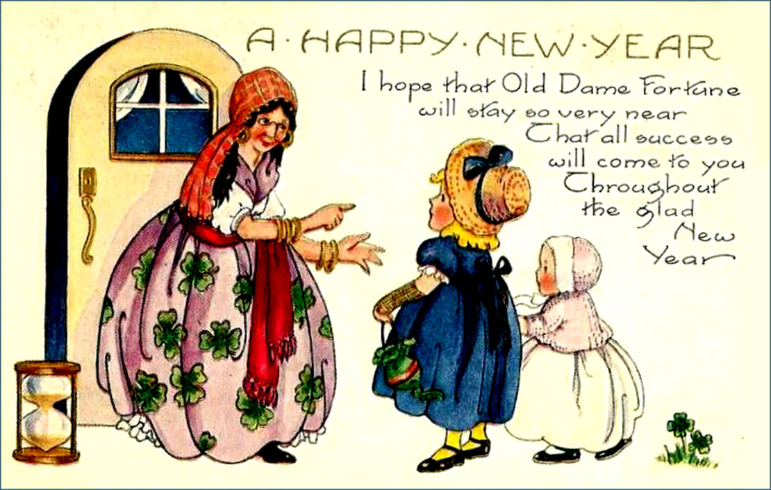 Vintage New Year card with Dame Fortune.