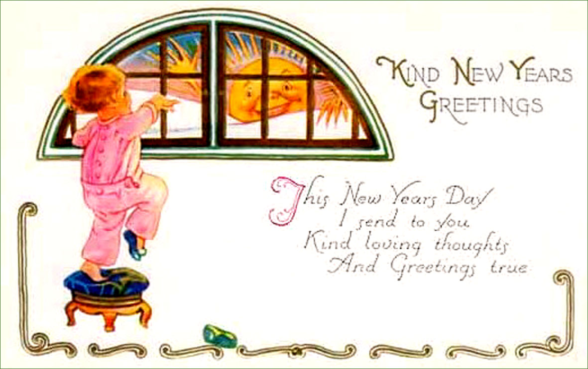 happy new year old vintage card little girl looking out through window