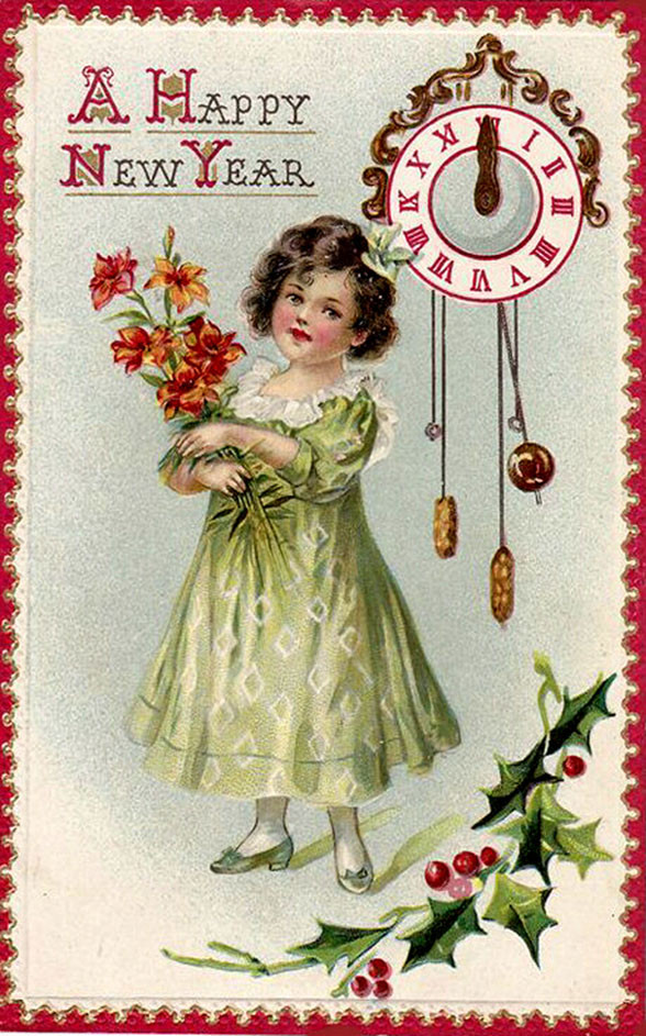 Happy New Years postcard in vintage style: Little girl with bouquet of flowers and clock.