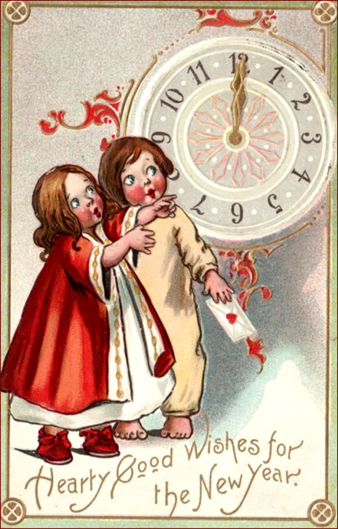 old vintage new year greeting card two sweet children looking at the old clock
