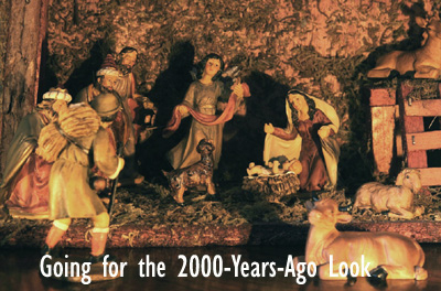 Dress up party theme from 2000 years ago. Picture of cryb scene in Bethlehem.