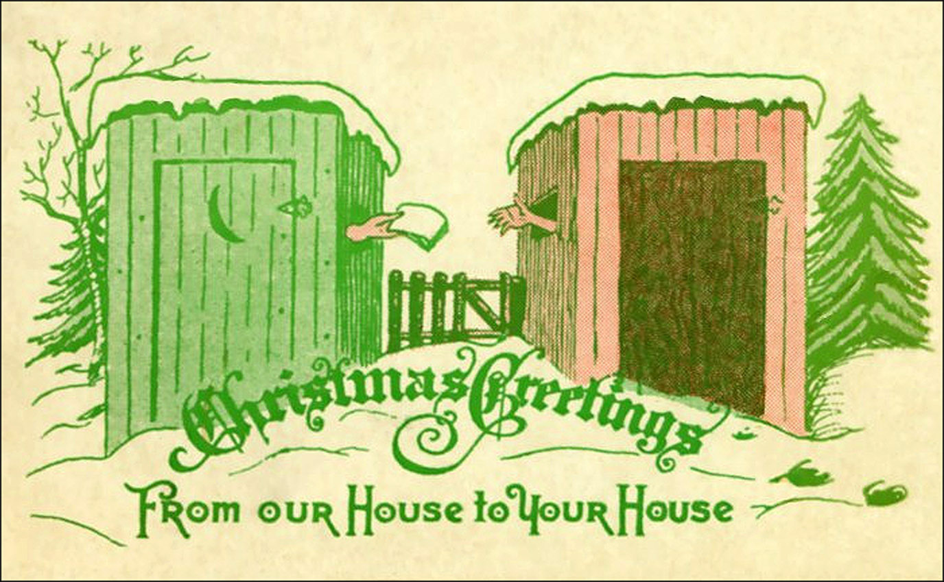 Outhouse to outhouse communication - funny vintage Xmas card