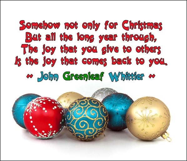 modern christmas postcard with christmas balls in many colors and a quote
