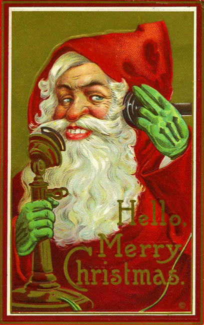 Silly Santa Claus on the telephone, 1914, Christmas vintage postcard
