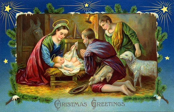 Vintage Christmas card: starlight, child in manger.