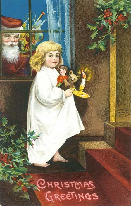 Christmas vintage postcard, young girl, Santa Claus