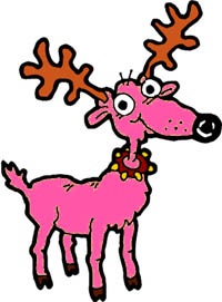 Silly pink reindeer of Santa Claus