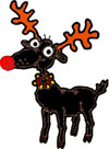 Santa Claus reindeer Rudolph black red nose