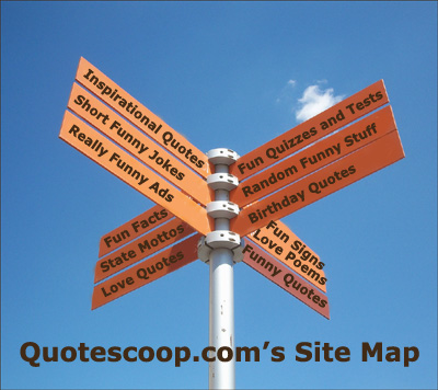 Signpost illustrating Quotescoop.com's site map with primary pages.