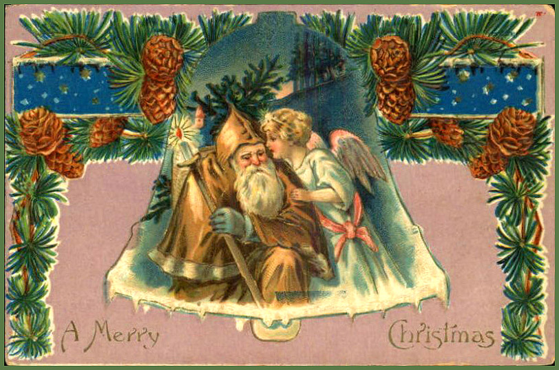 Vintage Santa Claus and angel Christmas card