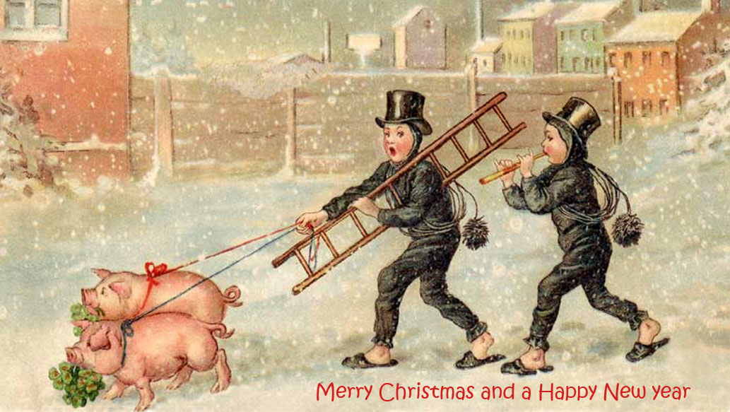 Vintage old christmas cards pigs boys snow city