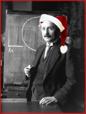 The meaning of Christmas according to Einstein: A young Albert Einstein with father Christmas hat.