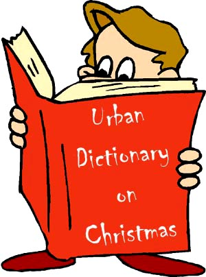 The Urban Dictionary on what is Christmas: Drawing of boy looking into man sized book.