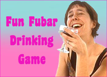 FUBAR is a drinking game with cards: Picture of a young woman holding a drink while laughing.