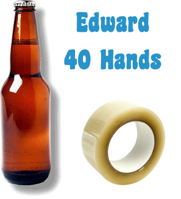'Ingredients' for playing Edward 40 hands: Beer and duck tape.