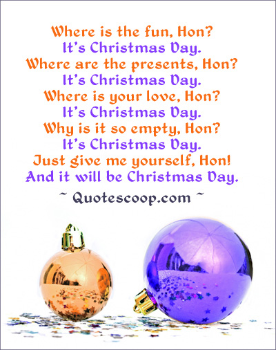 Modern looking Christmas greeting card with funny Christmas poem. Picture of two Christmas balls, an orange and a purple one.