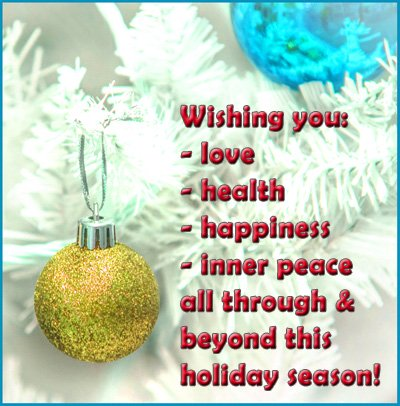 Modern Christmas greeting card: Wishing you love, health, happiness and inner peace all through and beyond this holiday season.