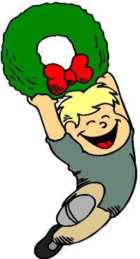 Drawing of little boy running with Christmas garland.