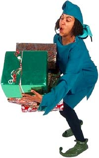 Quotes about Christmas stress: Funny elf tripping with lots of Christmas presents.