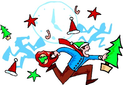Christmas Rush and Stress. Man running with presents.