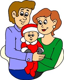 Drawing of mom and dad and baby in Christmas costume.