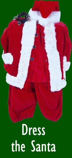 Office game for Christmas party: Dress the santa. Picture of Santa costume